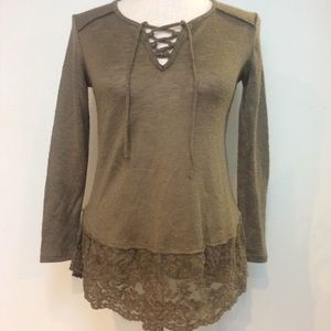 Olive green floral lace hem lace up Henley top